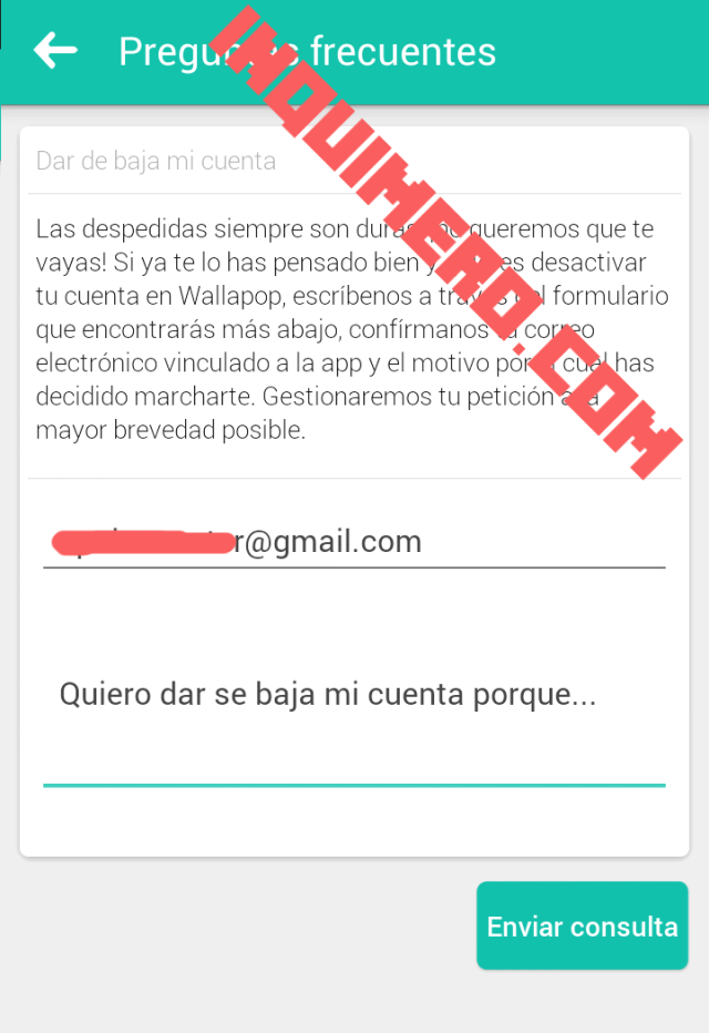 wallapop eliminar cuenta