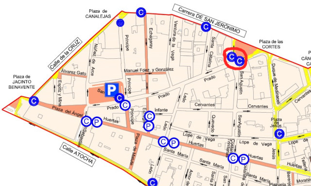 mapa santa ana parking prado